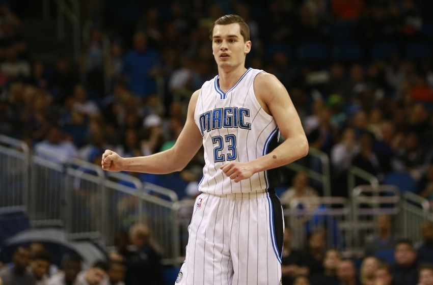 Feb 28, 2016; Orlando, FL, USA; Orlando Magic guard Mario Hezonja (23) pumps his fist as he makes a three pointer against the Philadelphia 76ers during second half at Amway Center. Orlando Magic defeated the Philadelphia 76ers 130-116. Mandatory Credit: Kim Klement-USA TODAY Sports